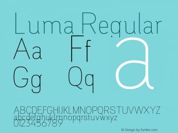 Luma Regular Version 1.000;PS 001.000;hotconv 1.0.88;makeotf.lib2.5.64775图片样张