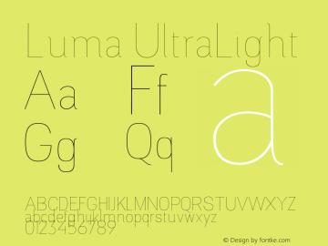 Luma UltraLight Version 1.000;PS 001.000;hotconv 1.0.88;makeotf.lib2.5.64775图片样张