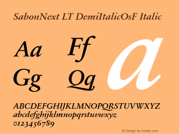 SabonNext LT Demi Italic Old Style Figures Version 1.02;2005图片样张