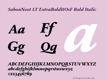 SabonNext LT Extra Bold Italic Old Style Figures Version 1.02;2005图片样张