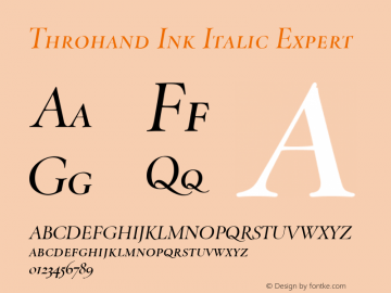 Throhand Ink Roman Expert Italic Version 1.00图片样张