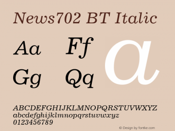 News702BT-Italic Version 2.000图片样张