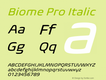 BiomePro-Italic Version 1.000图片样张