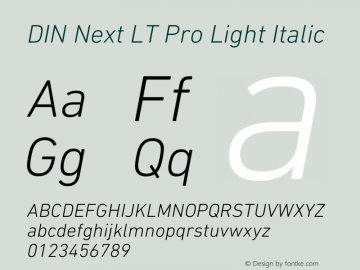DIN Next LT Pro Light Italic Version 1.40图片样张