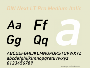 DIN Next LT Pro Medium Italic Version 1.40图片样张