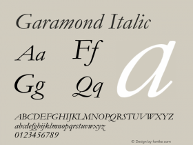 Garamond Italic Version 2.35图片样张