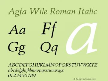 Agfa Wile Roman Italic Version 1.0 9/29/98图片样张