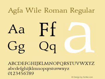 Agfa Wile Roman Version 1.0 9/29/98图片样张