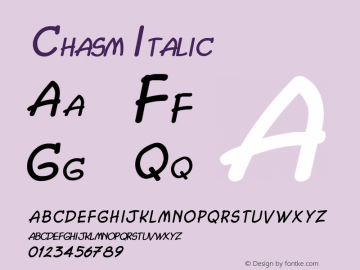 Chasm Italic 1.0/1995: 2.0/2001图片样张
