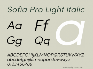 SofiaPro-LightItalic Version 002.001图片样张