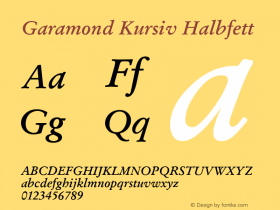 Garamond Kursiv Halbfett Version 1.0图片样张