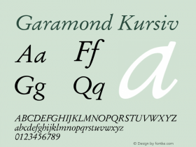 Garamond Kursiv Version 1.0图片样张