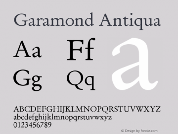 Garamond Antiqua Version 1.0图片样张
