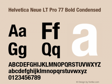 HelveticaNeueLT Pro 57 Cn Bold Version 2.000 Build 1000图片样张
