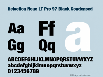 HelveticaNeueLT Pro 97 BlkCn Version 3.000 Build 1000图片样张