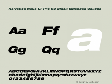 HelveticaNeueLT Pro 93 BlkEx Italic Version 1.00 Build 1000图片样张