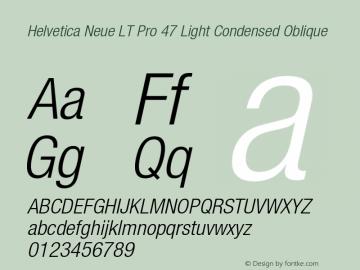 HelveticaNeueLT Pro 47 LtCn Italic Version 2.000 Build 1000图片样张
