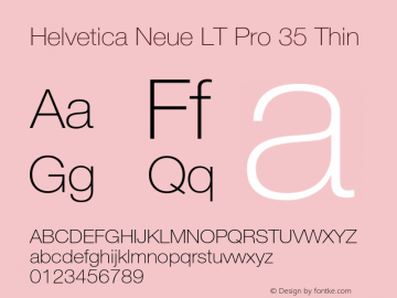 HelveticaNeueLT Pro 35 Th Version 3.000 Build 1000图片样张