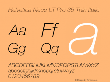 HelveticaNeueLT Pro 35 Th Italic Version 2.000 Build 1000图片样张