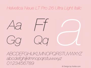 HelveticaNeueLT Pro 25 UltLt Italic Version 2.000 Build 1000图片样张