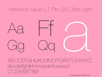 HelveticaNeueLT Pro 25 UltLt Version 3.000 Build 1000图片样张