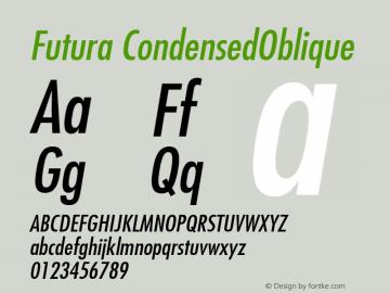 Futura CondensedOblique Version 001.000 Font Sample