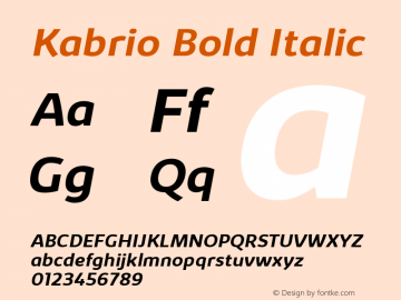 Kabrio-BoldItalic Version 1.000图片样张