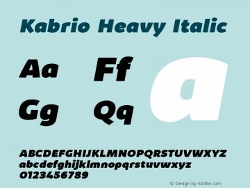Kabrio Heavy Italic Version 1.000图片样张