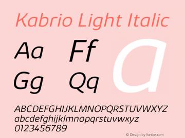 Kabrio-LightItalic Version 1.000图片样张