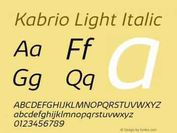 Kabrio Light Italic Version 1.000图片样张
