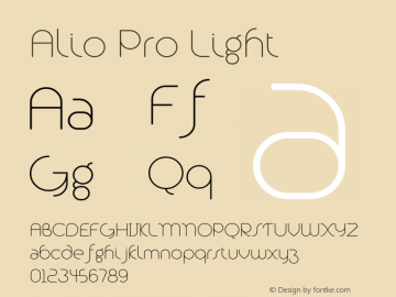 Alio Pro Light Version 1.003;PS 001.003;hotconv 1.0.88;makeotf.lib2.5.64775图片样张