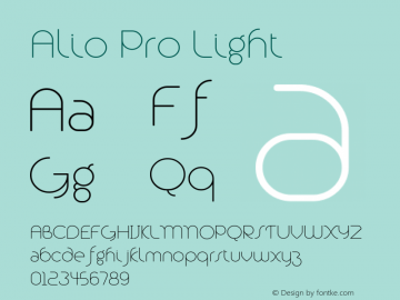 Alio Pro Light Version 1.003;PS 001.003;hotconv 1.0.88;makeotf.lib2.5.64775图片样张