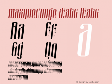 masquerouge italic Version 1.00 March 30, 2017, initial release图片样张