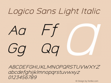 Logico Sans Light Italic Version图片样张