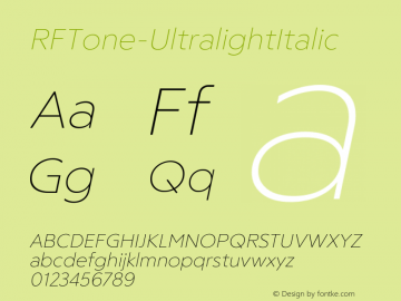 ☞RF Tone Ultralight Italic Version 1.000;com.myfonts.easy.russian-fonts.rf-tone.ultralight-italic.wfkit2.version.5cga图片样张