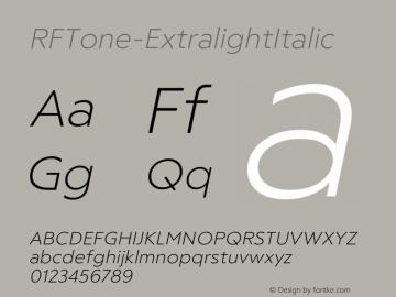 ☞RF Tone Extralight Italic Version 1.000;com.myfonts.easy.russian-fonts.rf-tone.extralight-italic.wfkit2.version.5cgk图片样张