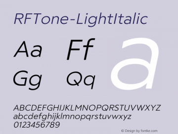 ☞RF Tone Light Italic Version 1.000;com.myfonts.easy.russian-fonts.rf-tone.light-italic.wfkit2.version.5cgw图片样张