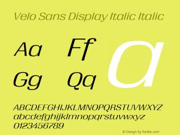 Velo Sans Display Italic Version 1.000;PS 1.0;hotconv 1.0.88;makeotf.lib2.5.647800图片样张