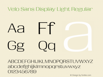 Velo Sans Display Light Version 1.000;PS 1.0;hotconv 1.0.72;makeotf.lib2.5.5900 DEVELOPMENT图片样张