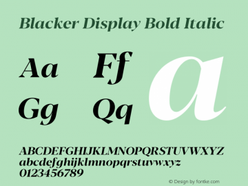 BlackerDisplay-BoldItalic Version 1.0   w-rip DC20180110图片样张