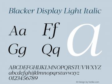 BlackerDisplay-LightItalic Version 1.0 | w-rip DC20180110图片样张