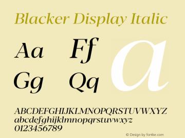 BlackerDisplay-Italic Version 1.0 | w-rip DC20180110图片样张