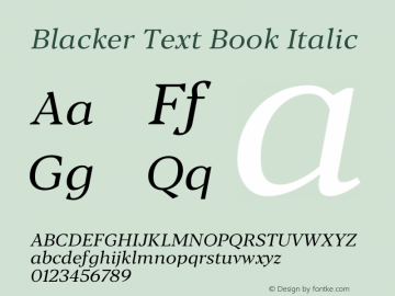 BlackerText-BookItalic Version 1.0 | w-rip DC20180110图片样张