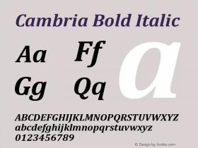 Cambria Bold Italic Version 2.00图片样张
