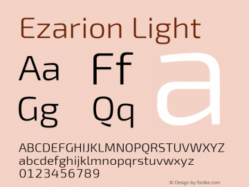 Ezarion Light Version 1.001;PS 001.001;hotconv 1.0.70;makeotf.lib2.5.58329图片样张