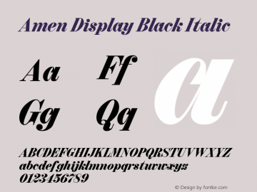 Amen Display Black Italic Version 1.000;PS 001.000;hotconv 1.0.88;makeotf.lib2.5.64775图片样张
