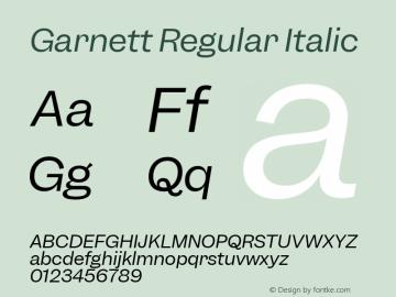 Garnett Regular Italic Version 1.000;PS 1.000;hotconv 16.6.51;makeotf.lib2.5.65220图片样张