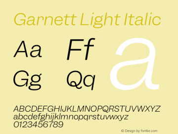 Garnett Light Italic Version 1.000;PS 1.000;hotconv 16.6.51;makeotf.lib2.5.65220图片样张
