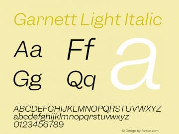 Garnett Light Italic Version 1.000;PS 1.000;hotconv 16.6.51;makeotf.lib2.5.65220图片样张