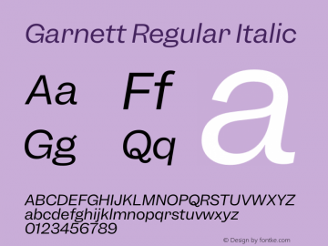 Garnett Regular Italic Version 1.000;PS 1.000;hotconv 16.6.51;makeotf.lib2.5.65220图片样张